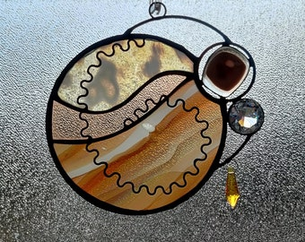 Sylvicola.  Unique Stained Glass Suncatcher with fused glass and jewels