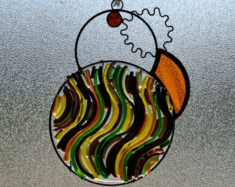 Siciliana.  Unique Stained Glass Suncatcher with fused glass and jewels