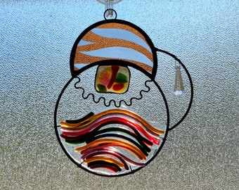 Unicolor.  Unique Stained Glass Suncatcher with fused glass and jewels