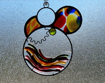 Sahariensis.  Unique Stained Glass Suncatcher with fused glass and jewels