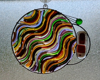 Ruttneri.  Unique Stained Glass Suncatcher with fused glass and jewels