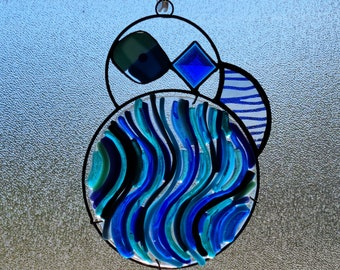 Simensis.  Unique Stained Glass Suncatcher with fused glass and jewels