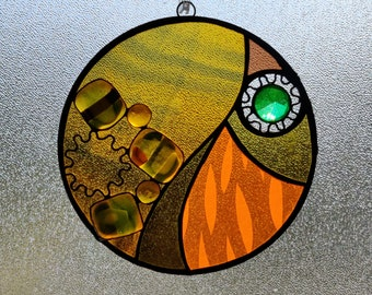 Centralis.  Unique Stained Glass Suncatcher with fused glass and jewels