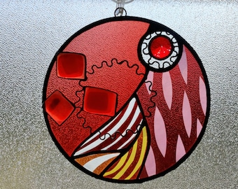 Caliginosus.  Unique Stained Glass Suncatcher with fused glass and jewels