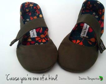 Barefoot Mary Jane Shoes - Army Green Flats, Wide Width Natural Shape Toe Box, Custom Barefoot Minimalist Shoes