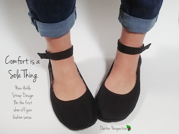 Minimalist Black Flats with Ankle Strap Custom Barefoot Minimalist Shoes, Wide width Shoes for Women