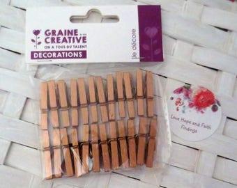 LOTTO 24 mini clothespins copper