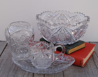 Set of 4 Clear Cut Glass Pieces - Libbey