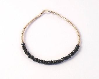Black Spinel and Karen hill Tribe sterling nugget bracelet, sterling silver