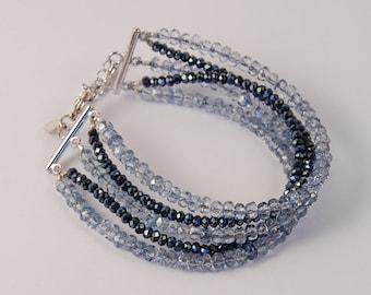 Steel Blue and Midnight Blue Crystal multi strand beaded bracelet, crystal bracelet