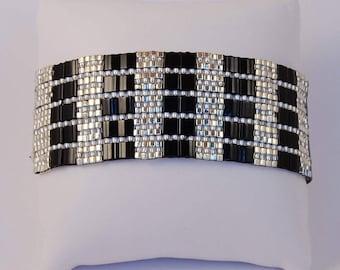 Tila bead cuff bracelet with  Black Miyuki Tila beads and Japanese seed beads,  hand woven, beaded bracelet
