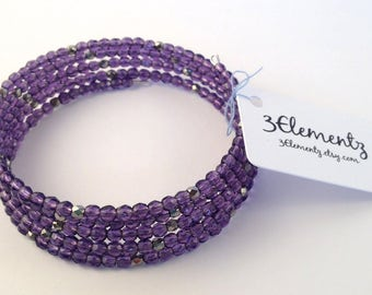 memory wire bracelet wrap bracelet czech fire polished glass faceted beads amethyst and silver