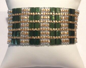 Tila bead cuff bracelet with Olive Green Gold Luster Miyuki Tila beads, gold Miyuki cube beads, Japanese seed beads, hand woven