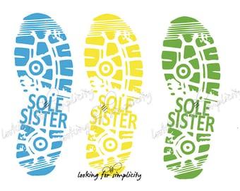 39d8edd30e9a Sole Sister Shoe Print Marathon Half Marathon Running Buddy Friend Decal   Sticker for Car