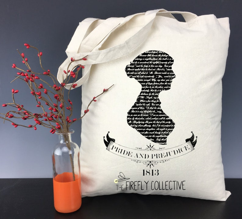 Anglophile Classic Lit Bibliophile Price and Prejudice Jane Austen Inspired Light Weight Tote Bag British Classic Literature English