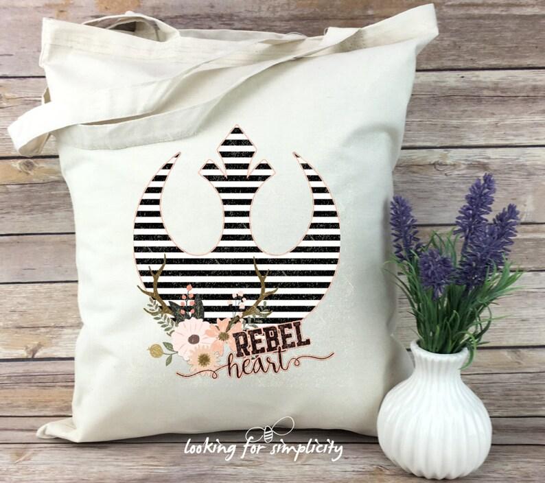 Rebel Alliance Pink Blush Black and White Girl Power Rebel Heart Star Wars Inspired Light Weight Tote Bag Flowers Stripes Feminine