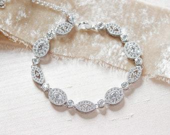 Crystal Bridal bracelet Wedding jewelry for brides, Bridesmaid bracelet, Bridal jewelry, CZ Tennis Bracelet