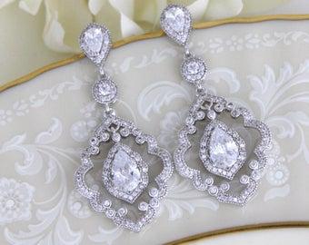 Art Deco Chandelier earrings, CZ Bridal earrings, Chandelier Wedding earrings, Wedding jewelry, Vintage inspired earrings, Crystal earrings