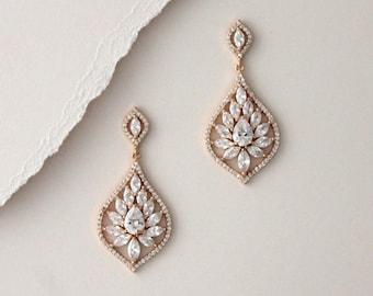 Rose gold Bridal earrings Crystal drop earrings Bridal jewelry Chandelier Wedding earrings Teardrop earrings Vintage style earrings