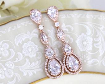 Rose Gold earrings, Crystal Bridal earrings, Bridal jewelry, Wedding earrings, Dangle earrings, Rhinestone earrings, Chandelier earrings