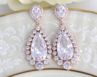 Rose Gold Bridal earrings, Rose Gold Teardrop earrings, Bridal jewelry, Crystal Wedding earrings, Rose Gold earrings, CZ earrings