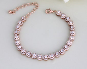 Rose Gold bracelet, Bridal bracelet, Bridal jewelry, Wedding bracelet, Tennis Bracelet, Halo bracelet, Rose Gold jewelry, Simple bracelet