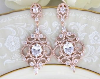 Rose Gold Bridal earrings, Rose Gold Chandelier earrings, Wedding earrings, Wedding jewelry, CZ earrings, Wedding accessories, Bridesmaid