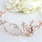 Rose gold hair vine, Rose gold headband, Wedding hair accessories, Rose gold headpiece, Leaf headpiece, Leaf hair vine, Vintage style hair