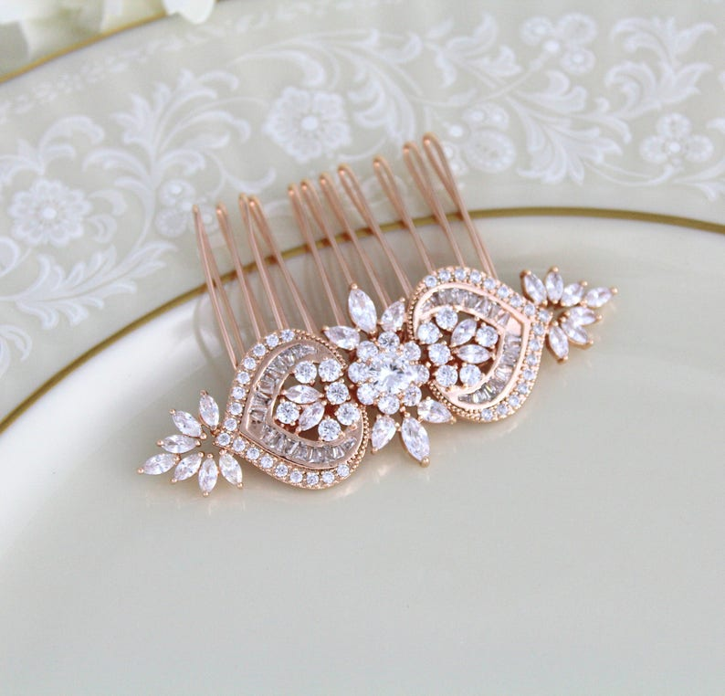 daa7f3644 Rose gold hair comb Bridal hair comb Wedding hair accessories | Etsy