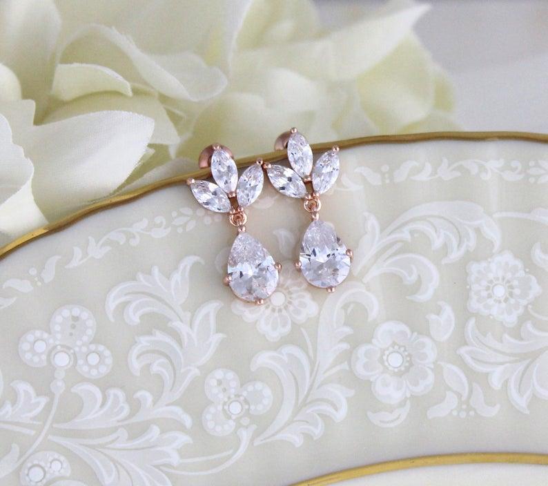Dainty Rose Gold Earrings Bridesmaid Earrings Bridal Etsy