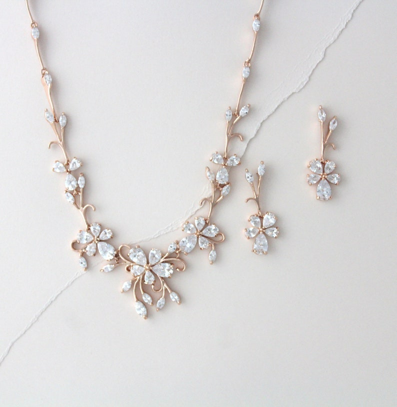 245b28acd849b Rose gold necklace and earring set Bridal necklace set Bridal jewelry set  Flower and leaf Wedding necklace Rose gold jewelry for wedding