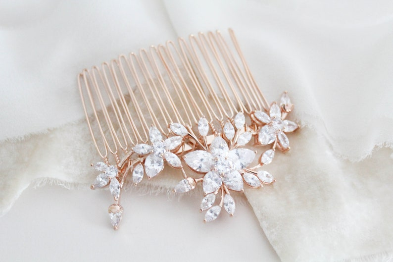 135cc969e Rose Gold hair comb Wedding headpiece Crystal Bridal hair comb | Etsy