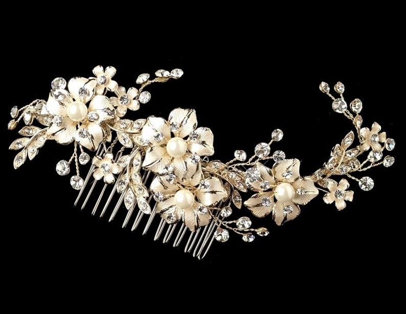Gold hair comb Gold headpiece Wedding hair accessory Bridal hair comb Wedding headpiece Bridal hair vine Leaf hair comb Head piece