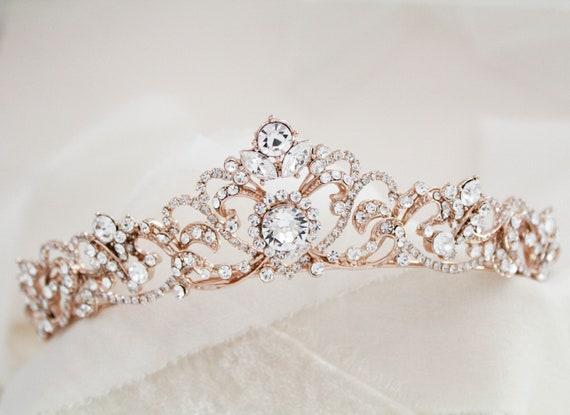 Rose Gold Braut Diadem Rose Gold Hochzeit Krone Strass Kristall Diadem Vintage Stil Hochzeit Diadem Braut Stirnband Kopfstück