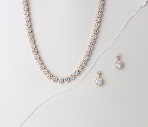 Bridal Jewelry Set White Gold Silver Wedding Jewelry Set Bridal Necklace and Earrings Set Bridal Jewelry DeniseCleo