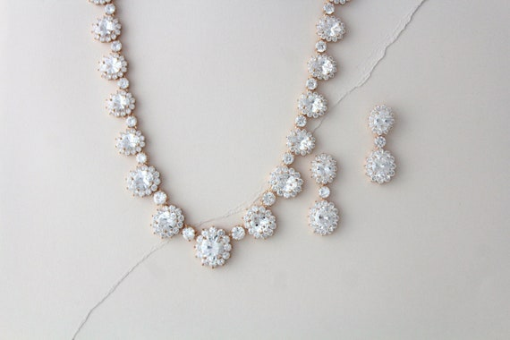 Rose Gold Bridal Necklace Set Bridal Jewelry Wedding Necklace Etsy