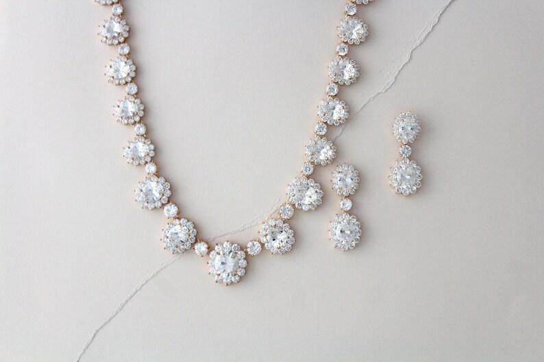 Rose Gold Bridal necklace set Bridal jewelry Wedding Necklace image 0