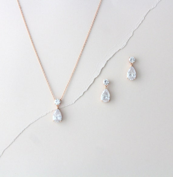 Dainty Rose Gold Necklace And Earring Set Bridal Jewelry Etsy