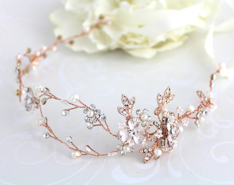 Rose gold hair vine Rose gold headband Wedding hair image 0