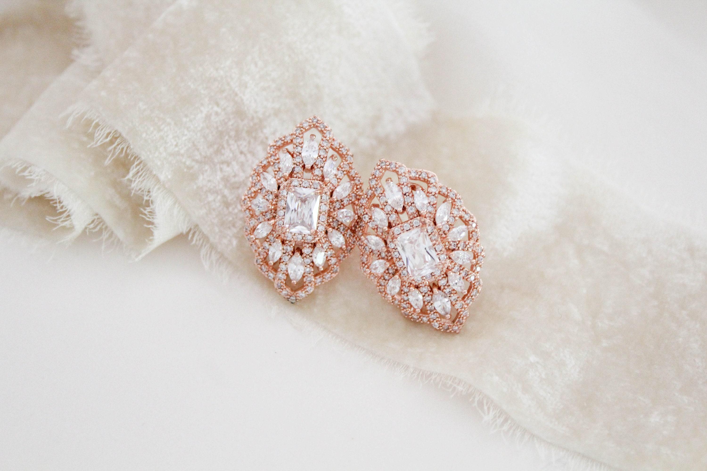 1802c2f13ea29 Rose Gold Bridal stud earrings Bridal jewelry Crystal Wedding earrings  Vintage style earrings Emerald cut earrings Rose gold Wedding jewelry