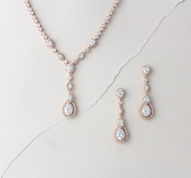 Rose Gold necklace Rose Gold earrings Wedding jewelry set Rose rose gold