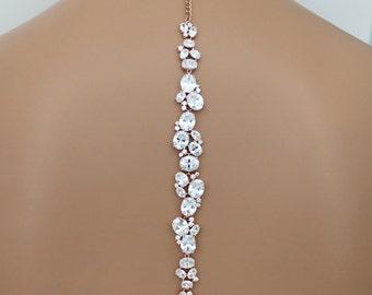 Rose Gold backdrop necklace Bridal back drop necklace Wedding necklace set Bridal jewelry set Chunky CZ necklace Bridal drop earrings