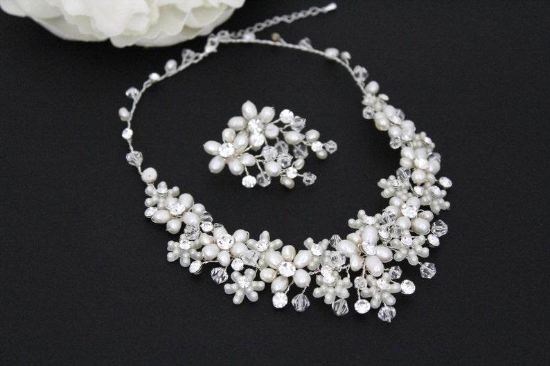 3b824dfe1 Pearl Bridal necklace SET Crystal Wedding jewelry Freshwater   Etsy
