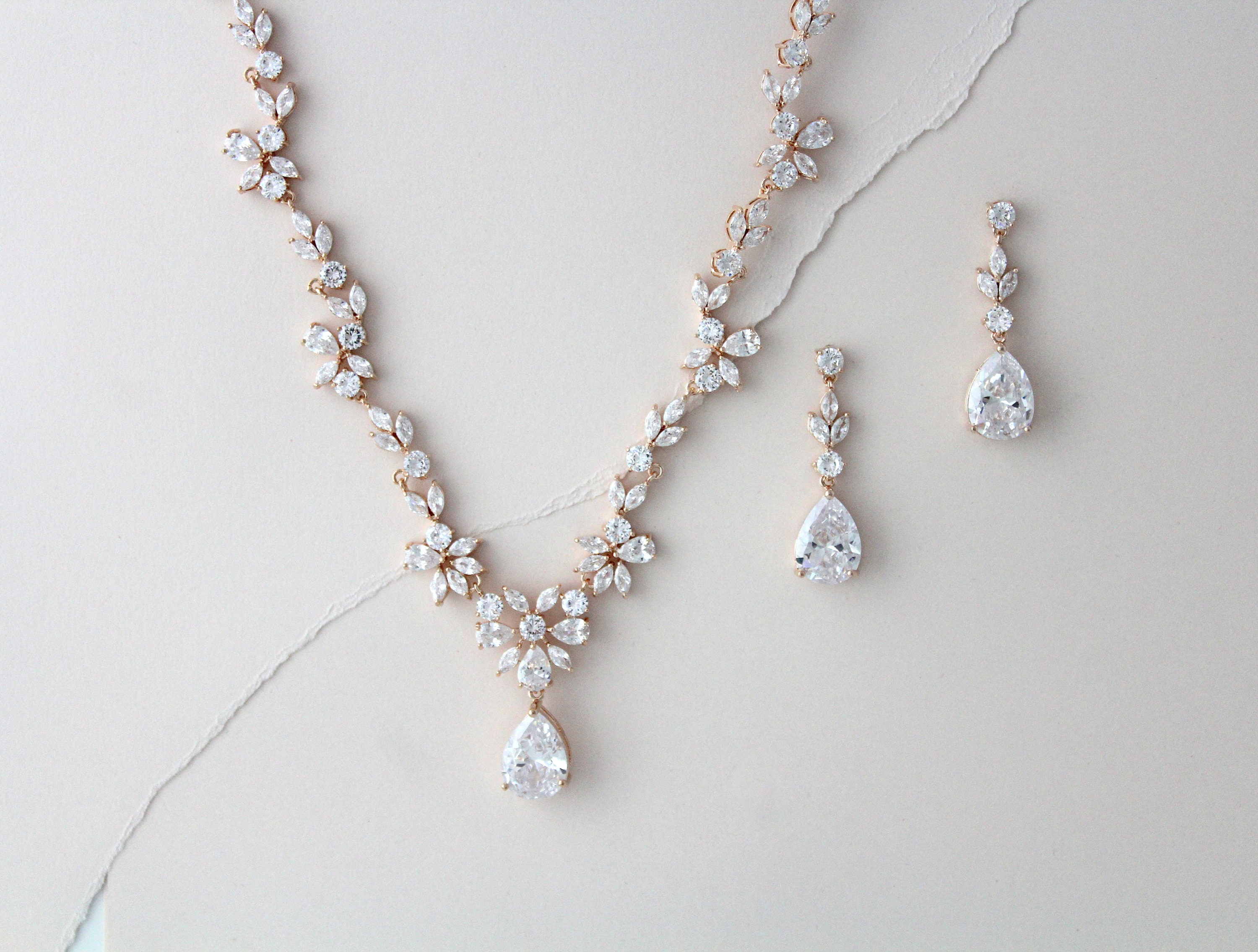 20091f06bdb Rose Gold necklace set Bridal necklace and earring set Wedding jewelry set  Crystal necklace Rose Gold earrings CZ Bridesmaid jewelry