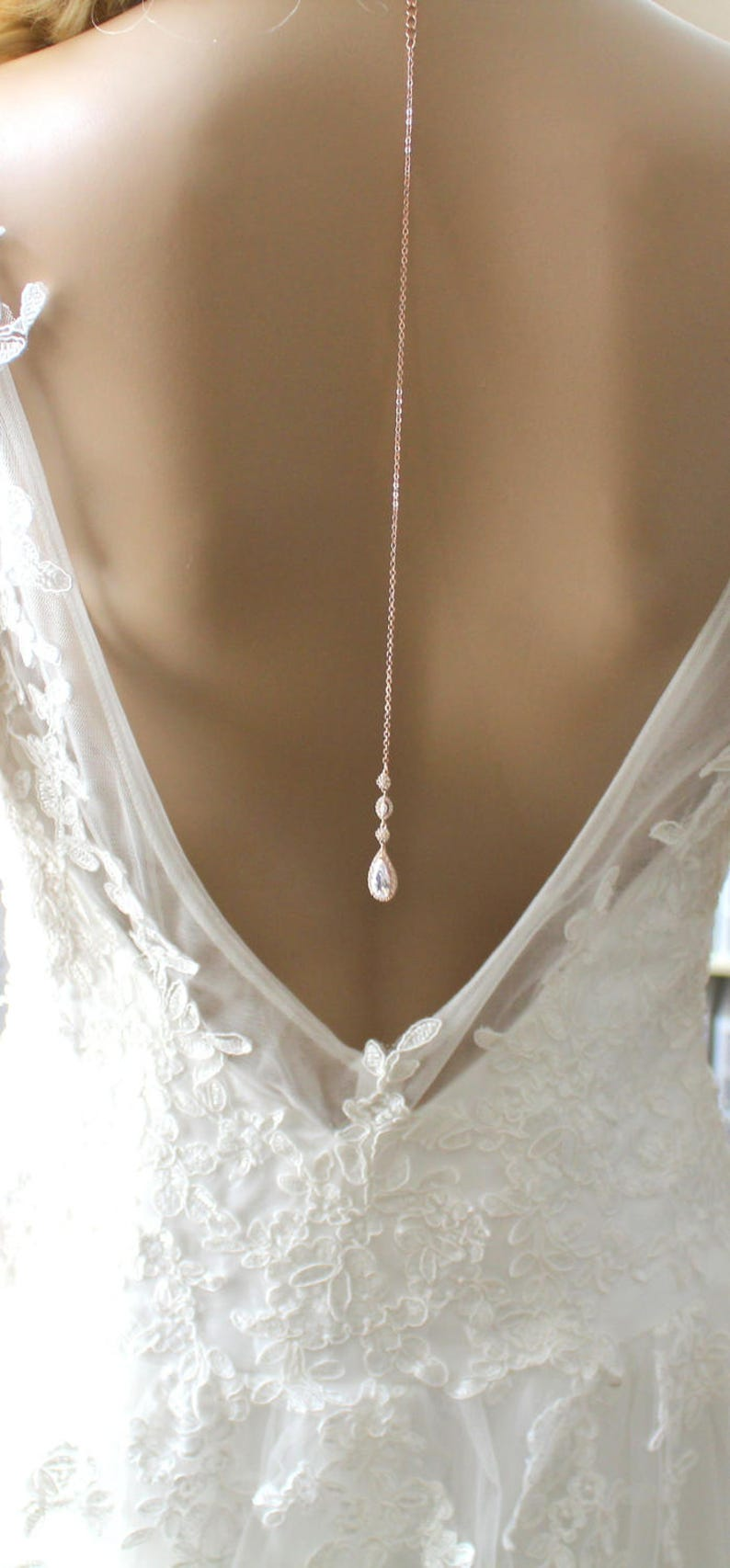 7d316ff19ff4 Dainty Backdrop necklace Rose gold Back drop necklace Wedding