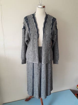 BlueGrey Vintage knitted skirt and cardigan suit size medium 12