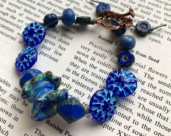 Blue Beaded Bracelet, Blue Floral Bracelet, Artisan Glass Blue Bracelet, Humblebeads Blue Bracelet, Copper Toggle Bracelet