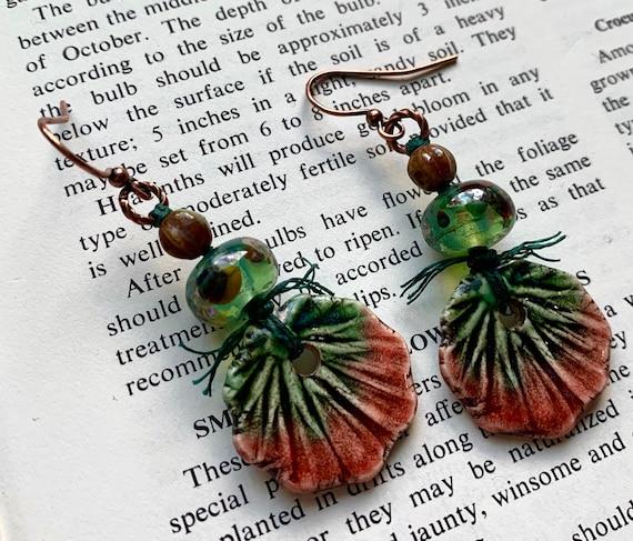 Red Flower Earrings, Green Floral Earrings, Green Art Glass Earrings, Marsha Neal Studios Earrings, Numinosity Earrings