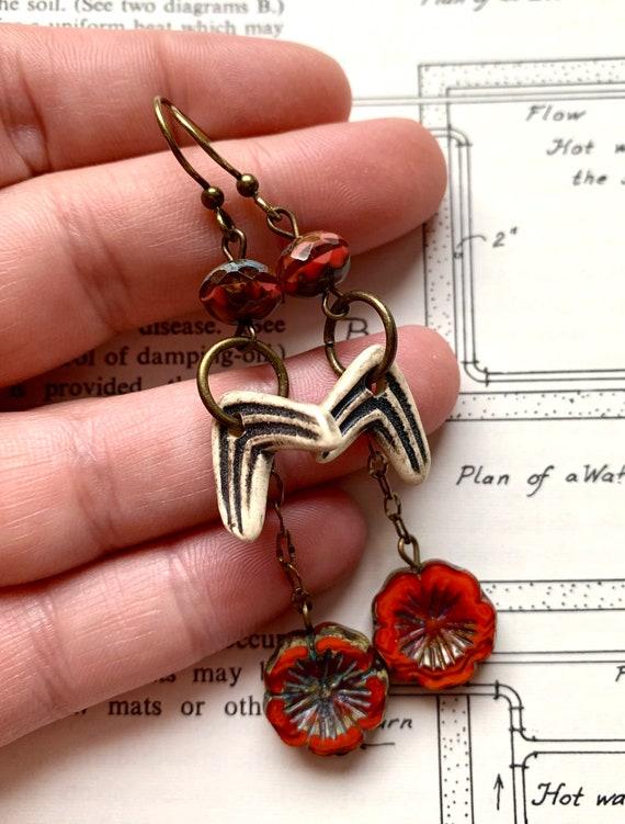 Chevron Ceramic Earrings, Orange Beaded Earrings, Ceramic Black Earrings, Orange Flower Earrings, Czech Glass Bead Earrings