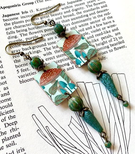 Mushroom Earrings, Fall Mushroom Earrings, Fungi Earrings, Humblebeads Earrings, Blue Beaded Earrings, Red Mushroom Earrings